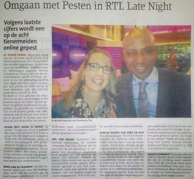 Persbericht in de Ronde Venen omgaan met pesten bij RTL-late-night